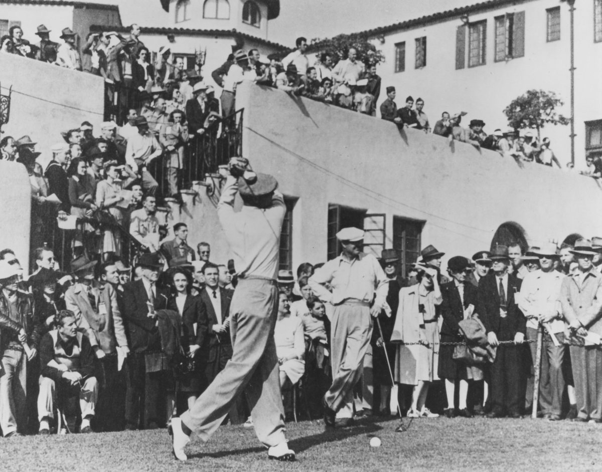 Ben Hogan tees off with Byron Nelson