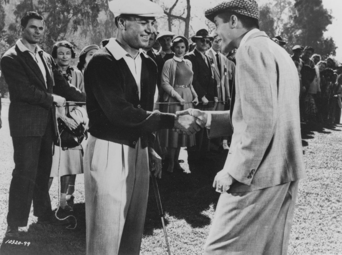 Ben Hogan with Jerry Lewis during filming of The Caddy